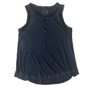 Lucky Brand Embroidered Blue Tank Top